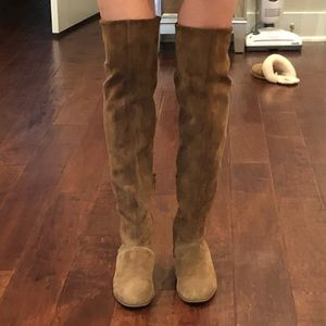 Free People Camel Suede over the knee Boots